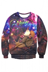 Womens Crewneck Santa Snail Printed Christmas Sweatshirt Purple
