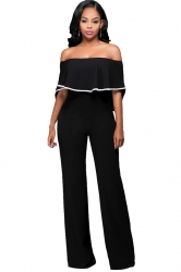 Womens Off Shoulder Ruffled High Waist Palazzo Jumpsuit Black