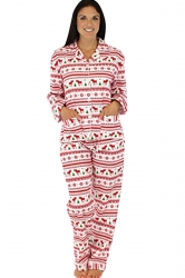 Womens Long Sleeve Reindeer Printed Two-piece Christmas Pajamas White