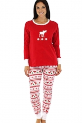 Womens Reindeer Printed Two-piece Long Sleeve Christmas Pajamas Red
