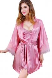 Womens Spaghetti Straps Side Slit Two-piece Babydoll Set Pink