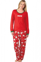 Womens Snowman Printed 2pcs Long Sleeve Christmas Pajamas Red