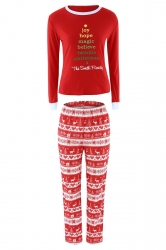 Womens Reindeer Printed 2pcs Long Sleeve Christmas Pajamas Red
