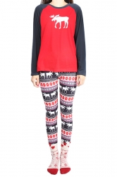 Womens Color Block Reindeer Printed Long Sleeve Christmas Pajamas Red