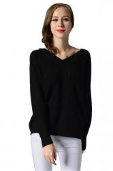 Womens V Neck Long Sleeve Backless Pullover Plain Sweater Black