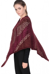 Womens Exotic Geometric Patterned Pullover Poncho Ruby