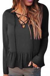 Womens Lace-up V Neck Long Flare Sleeve Ruffled Hem Blouse Black