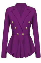 Womens Slimming Long Sleeve Buttons Peplum Blazer Purple