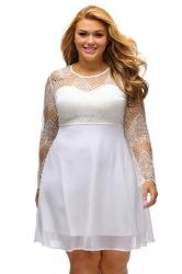 Womens Boohoo Plus Size Lace Long Sleeve Skater Dress White