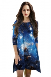 Womens 3/4 Length Sleeve Galaxy Printed Smock Dress Blue