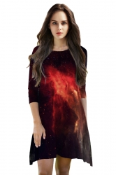 Womens 3/4 Length Sleeve Galaxy Printed Smock Dress Black