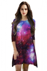 Womens 3/4 Length Sleeve Galaxy Printed Smock Dress Dark Red