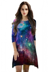 Womens 3/4 Length Sleeve Galaxy Printed Smock Dress Purple