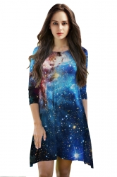 Womens 3/4 Length Sleeve Galaxy Printed Smock Dress Sapphire Blue