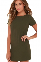 Womens Crewneck Zipper Back Short Sleeve Plain Shift Dress Army Green