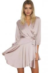 Womens V Neck Long Sleeve Lace-up Plain Skater Dress Apricot