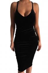 Womens Sexy Sleeveless Midi Bodycon Dress Black