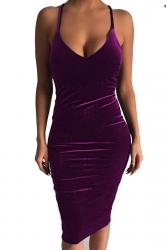 Womens Sexy Sleeveless Midi Bodycon Dress Purple