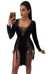 Womens Deep V Neck Sides Lace-up Long Sleeve Clubwear Dress Black