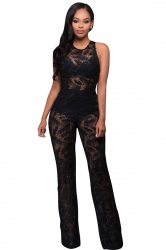 Womens See Through Lace Sleeveless Palazzo Jumpsuit Black
