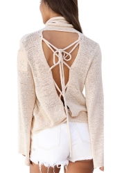 Womens Cowl Neck Lace-up Back Flare Sleeve Plain Sweater Beige