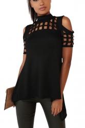 Womens Cold Shoulder Cut Out Back Slit T Shirt Black