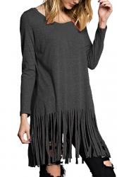 Womens Round Neck Fringed Hem Long Sleeve Plain T Shirt Dark Gray