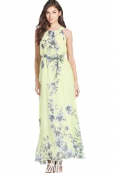 Womens Lace-up Sleeveless Bow Decor Floral Maxi Dress Yellow