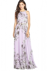Womens Floral Printed Sleeveless Floor Length Dress Light Purple