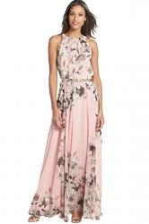 Womens Pretty Floral Printed Sleeveless Floor Length Dress Pink
