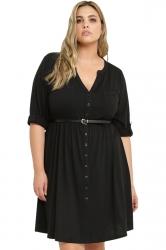 Womens V-neck Half Sleeve Plus Size Belt Plain Shirt Dress Black