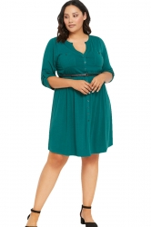 Womens V-neck Half Sleeve Plus Size Belt Plain Shirt Dress Green