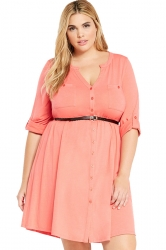 Womens V-neck Half Sleeve Plus Size Belt Plain Shirt Dress Pink