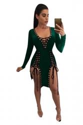 Womens Deep V Neck Sides Lace-up Long Sleeve Clubwear Dress Green