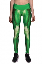 Womens High Waist Muscle Printed Ankle Length Sports Leggings Green