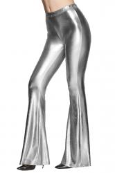 Womens High Waist Plain Liquid Bell Bottom Leggings Silvery