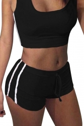 Womens Sports Crop Top&Drawstring Waist Shorts Suit Black