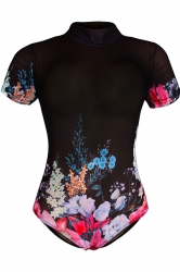 Womens One Piece Flower Printed Short Sleeve Classic Swimsuit Black