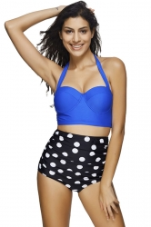 Womens Retro Halter Two-piece High Waist Polka Dot Bikini Set Blue