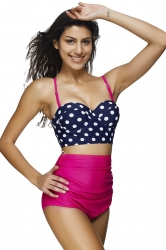 Womens Polka Dot Bikini Top&Draped High Waist Swimsuit Bottom Rose Red