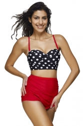 Womens Polka Dot Bikini Top&Draped High Waist Swimsuit Bottom Red