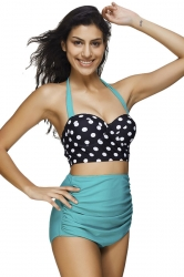 Womens Polka Dot Draped High Waist Bikini Suit Turquoise
