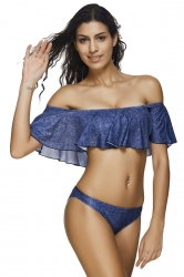 Womens Off Shoulder Ruffled Two-piece Bikini Suit Blue
