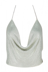 Womens Chain Halter Plunging Neck Backless Sequined Crop Top White