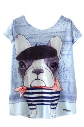 Womens High Low Funny Dog Printed Short Sleeve T Shirt Light Blue