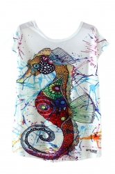 Womens High Low Sea Horse Printed Short Sleeve T Shirt White
