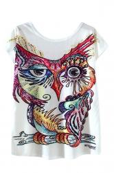 Womens High Low Owl Printed Short Sleeve T Shirt White