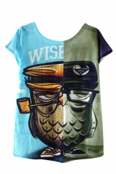 Womens High Low Double Owl Printed Short Sleeve T Shirt Blue