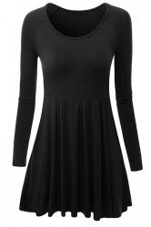 Womens Crewneck Ruched Long Sleeve Plain Skater Dress Black