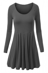Womens Crewneck Ruched Long Sleeve Plain Skater Dress Dark Gray